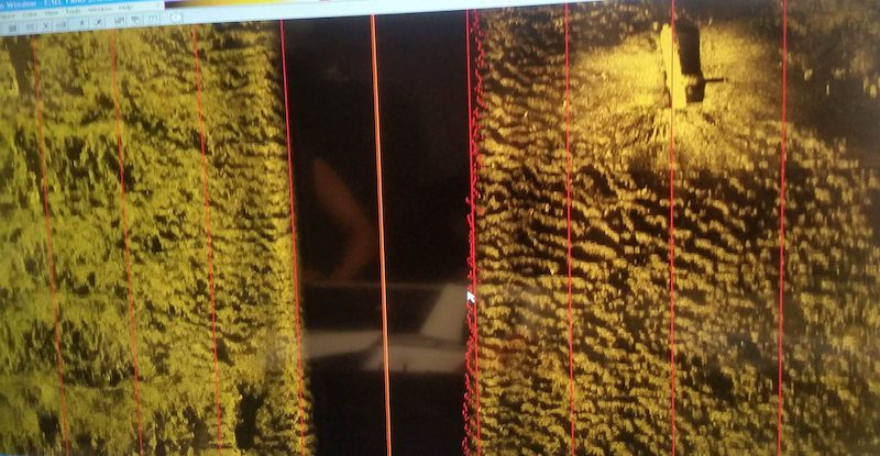 Photo of side-scanning sonar software displaying the El Faro