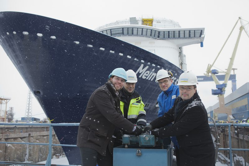 Mein Schiff 5 float-out, January 15, 2016. Photo credit: Meyer Turku