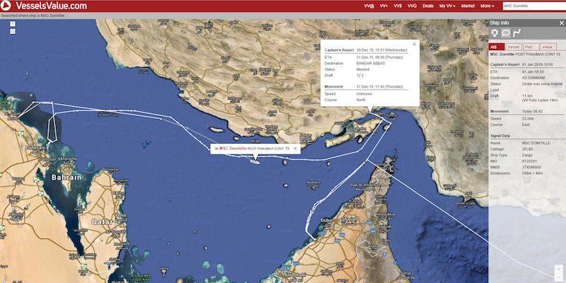 MSC Domitille sails towards Iran, December 30, 2015. Image: Vesselvalue.com