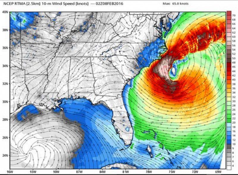 Hi Res 10 meter winds 9pm Sunday 7 Feb 2016 Image credit weatherbell.com