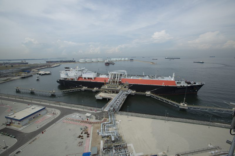 BG Group's Methane Kari Elin delivers the first consignment of LNG to Singapore's SLNG terminal in May 2013. Photo credit: BG Group