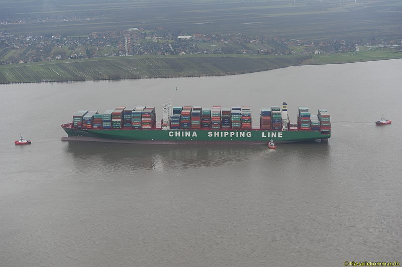 CSCL Indian Ocean aground in the Elbe River, February 4, 2016. Photo credit: CCME