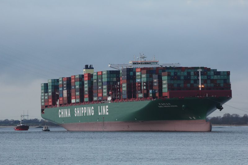 CSCL Indian Ocean aground on the Elbe River, February 5, 2016. Photo credit: Central Command for Maritime Emergencies
