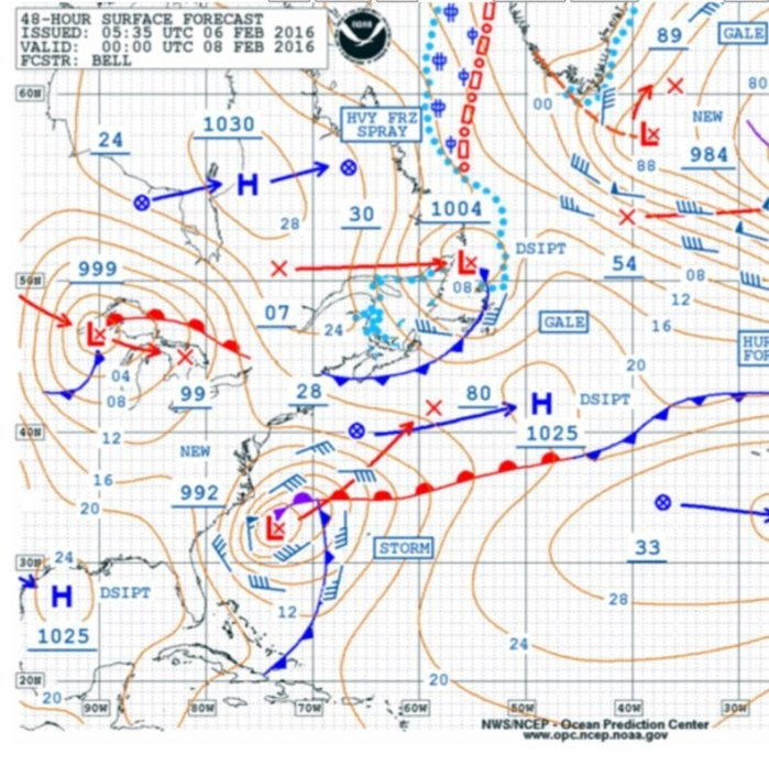 NOAA OPC 48 hour Surface Forecast for Sunday Evening