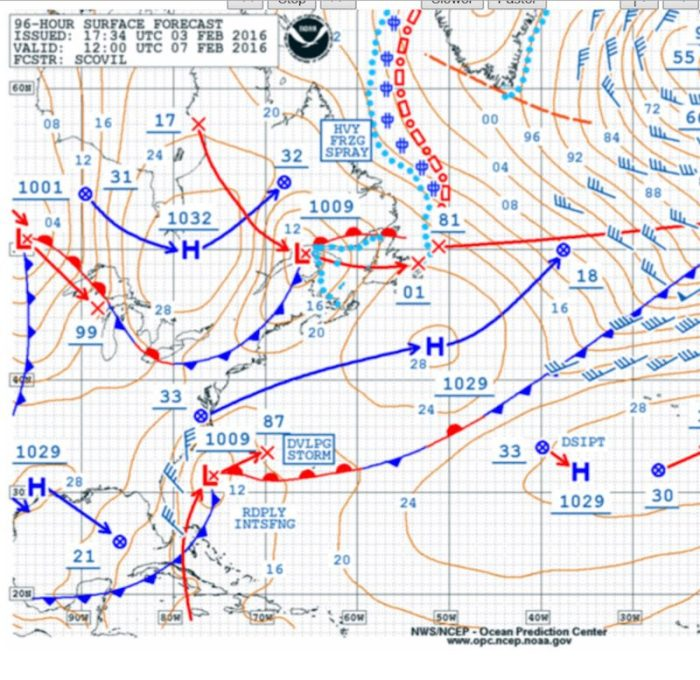 NOAA OPC 96 Hour Surface Forecast for Sunday morning 7 Feb 2016