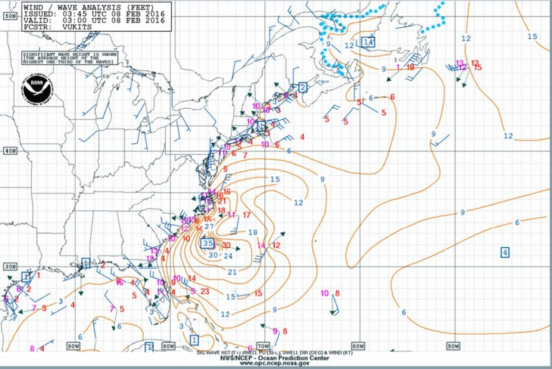 NOAA Wind and Wave Analysis 10PM Sunday 7 Feb 2016