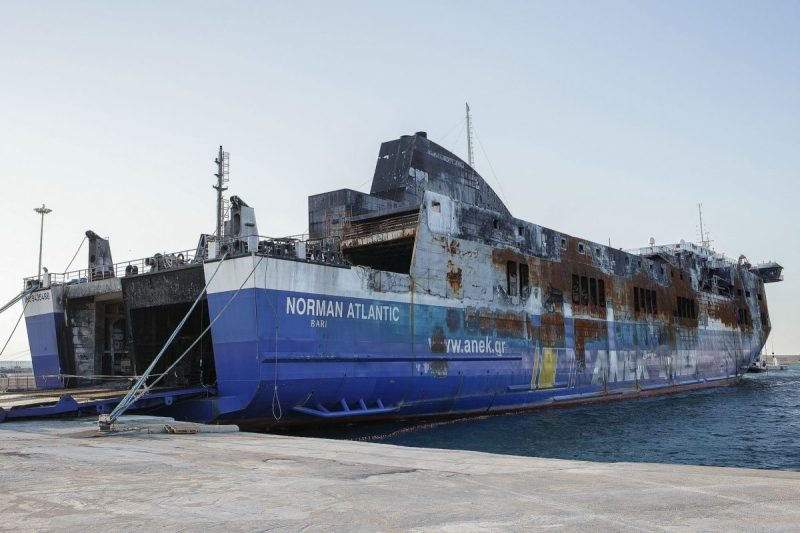 The roll-on/roll-off passenger ferry Norman Atlantic in the port of Bari, Italy after the ship suffered a fire in December 2014.