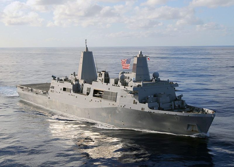 The amphibious transport dock ship USS San Antonio (LPD 17), which the new LX(R) dock landing ships will be based on. U.S. Navy Photo