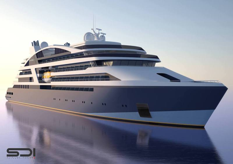 An ilustration of the expedition cruise vessels VARD will likely be building for Ponant. Credit: Ponant