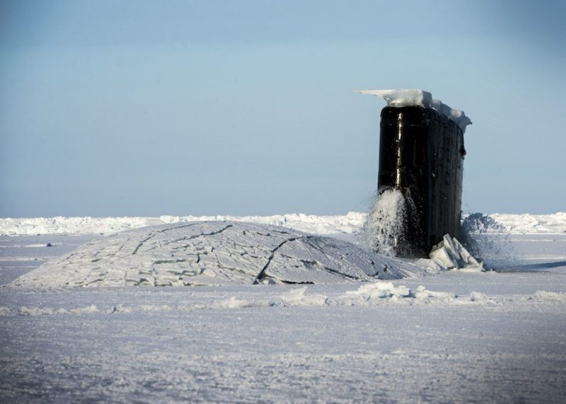 160317-N-QA919-091 ARCTIC CIRCLE (March 15, 2016) The Los Angeles-class fast attack submarine USS Hampton (SSN 757) surfaces at Ice Camp Sargo during Ice Exercise (ICEX) 2016. ICEX 2016 is a five-week exercise designed to research, test, and evaluate operational capabilities in the region. ICEX 2016 allows the U.S. Navy to assess operational readiness in the Arctic, increase experience in the region, advance understanding of the Arctic Environment, and develop partnerships and collaborative efforts. (U.S. Navy photo by Mass Communication Specialist 2nd Class Tyler Thompson)