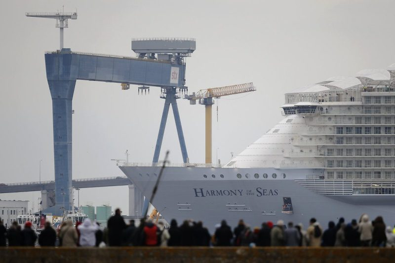 The Harmony of the Seas ( Oasis 3 ) class ship leaves the STX Les Chantiers de l'Atlantique shipyard site in Saint-Nazaire, France, March 10, 2016. REUTERS/Stephane Mahe