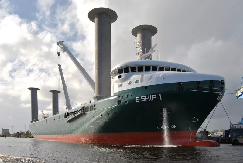 The cargo ship E-Ship 1 is the most famous vessel currently using Flettner Rotor technology for propulsion.