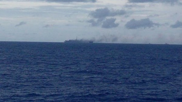 This photo circulating online allegedly shows the FPSO P-48 on fire in Brazil's Campos Basin on Thursday.