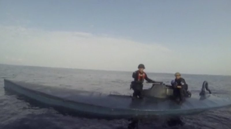 Screenshot from video of the March 3, 2016 bust off the coast of Panama. Credit: U.S. Coast Guard