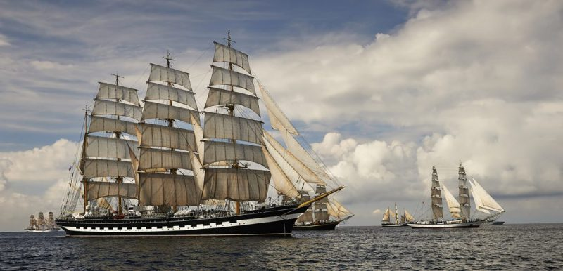 Tall Ship Sailing Regatta At Sea