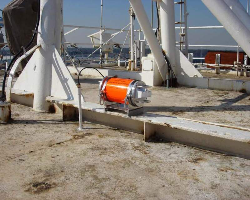 A file photo shows the El Faro's voyage data recorder capsule on top of El Faro navigation bridge. Photo: NTSB