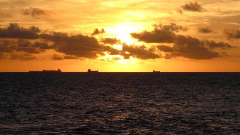 Oil tankers waiting at anchor outside Curacau