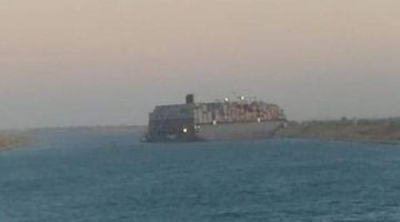 Giant MSC Boxship Hard Aground in Suez Canal