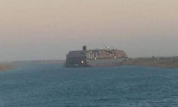 MSC Fabiola aground in the Suez Canal.