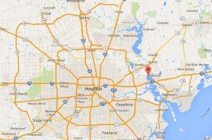 Location of the San Jacinto River near Houston. Map courtesy Google
