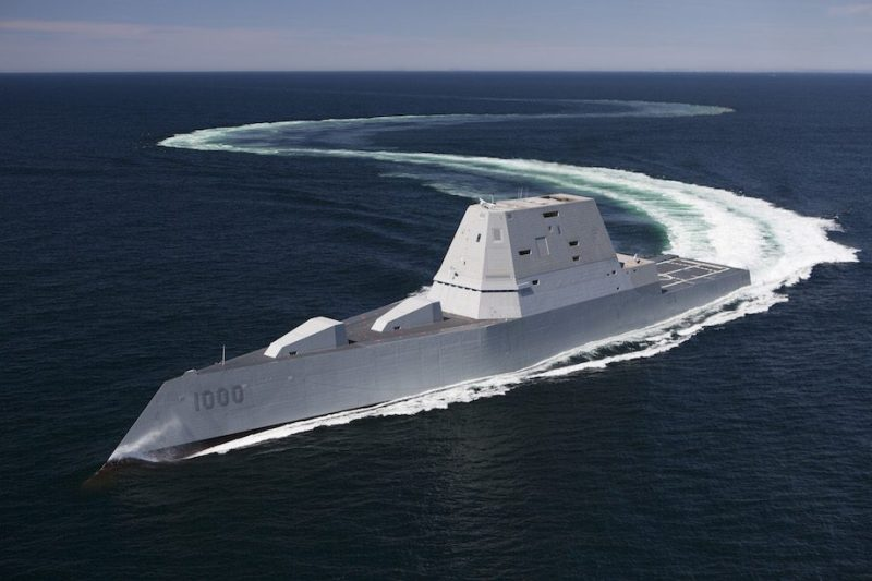 160421-N-YE579-005 ATLANTIC OCEAN (April 21, 2016) The future guided-missile destroyer USS Zumwalt (DDG 1000) transits the Atlantic Ocean during acceptance trials April 21, 2016 with the Navy's Board of Inspection and Survey (INSURV). The U.S. Navy accepted delivery of DDG 1000, the future guided-missile destroyer USS Zumwalt (DDG 1000) May 20, 2016. Following a crew certification period and October commissioning ceremony in Baltimore, Zumwalt will transit to its homeport in San Diego for a Post Delivery Availability and Mission Systems Activation. DDG 1000 is the lead ship of the Zumwalt-class destroyers, next-generation, multi-mission surface combatants, tailored for land attack and littoral dominance. (U.S. Navy/Released)