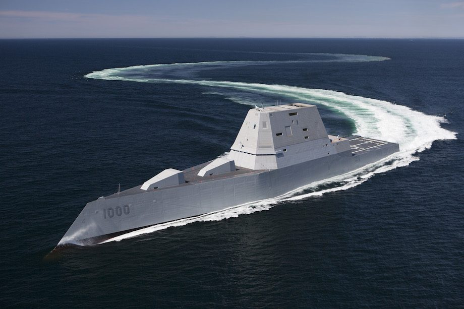 The guided-missile destroyer USS Zumwalt (DDG 1000) transits the Atlantic Ocean during acceptance trials, April 21, 2016. U.S. Navy Photo