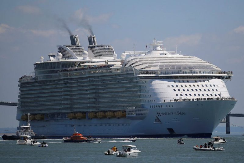 The Harmony of the Seas (Oasis 3) class ship leaves the STX Les Chantiers de l'Atlantique shipyard site in Saint-Nazaire, France, May 15, 2016. REUTERS/Stephane Mahe