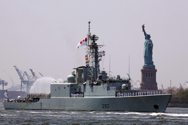 Canadian Iroquois-class destroyer HMCS Athabaskan arrives in New York Harbor to mark the beginning of Fleet Week in New York, U.S., May 25, 2016. REUTERS/Lucas Jackson