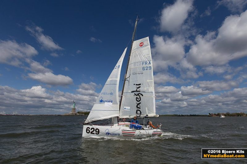 Olivieri Jehl in New York Harbor on board his 6.5 Mini. Credit: