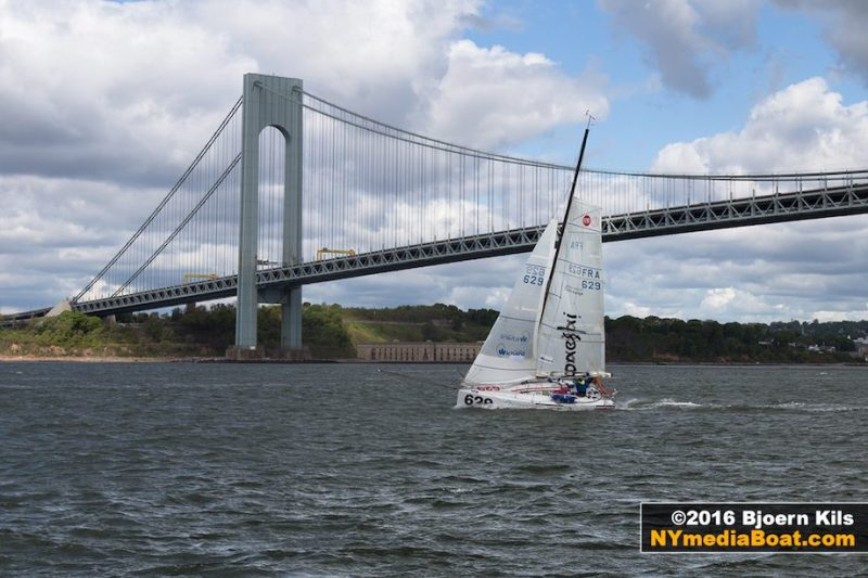 Jehl passes below the Verrazano Bridge on his record-breaking attempt, May 15, 2016. Credit: