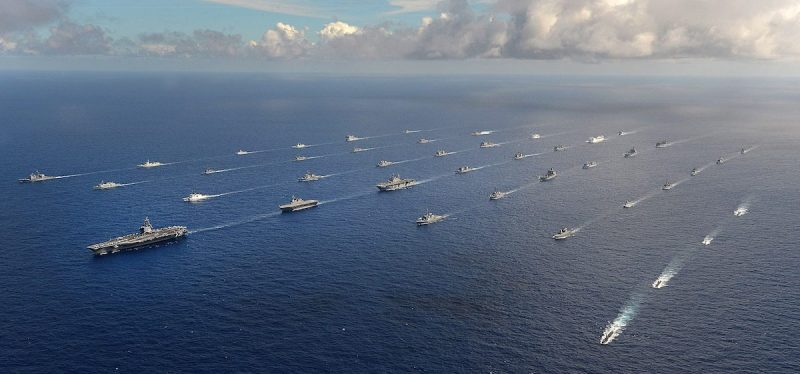 Forty-two ships and submarines representing 15 international partner nations maneuver into a close formation during Rim of the Pacific (RIMPAC) 2014. U.S. Navy Photo