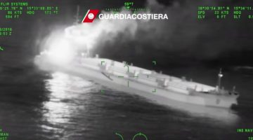 WATCH: Fire Engulfs Tug and Barge Off Italy