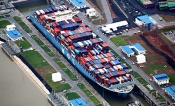 MOL Benefactor in the new locks of the expanded Panama Canal. Photo: MOL