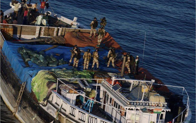 A boarding team boards the suspect pirate mother ship in January 2013. Photo: EU Naval Force