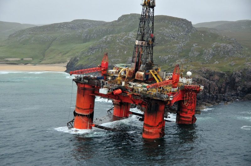 Transocean Winner aground on the Isle of Lewis in Scotland in this photo released by the UK Maritime and Coastguard Agency on August 18, 2016.