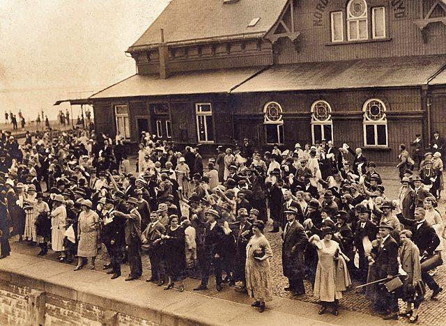 Waving Bon Voyage to the departing SS Bremen 1926