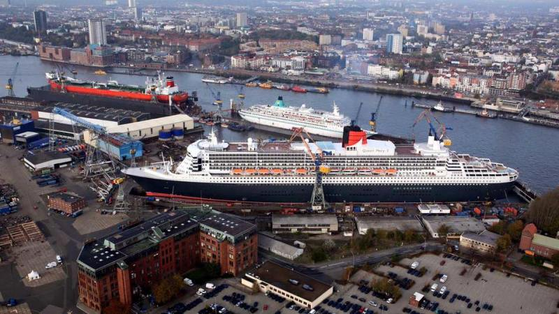 The Queen Mary 2 in dry dock at the Blohm + Voss shipyard in Hamburg, Germany. Photo: Blohm + Voss