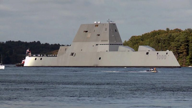 160907-N-N0101-002 BATH, Maine (Sept. 7, 2016) Video frame grab showing the future USS Zumwalt (DDG 1000) departing Bath Iron Works marking the beginning of a 3-month journey to its new homeport in San Diego. Crewed by 147 Sailors, Zumwalt is the lead ship of a class of next-generation multi-mission destroyers designed to strengthen naval power. They are capable of performing critical maritime missions and enhance the Navy's ability to provide deterrence, power projection and sea control. (U.S. Navy video/Released)