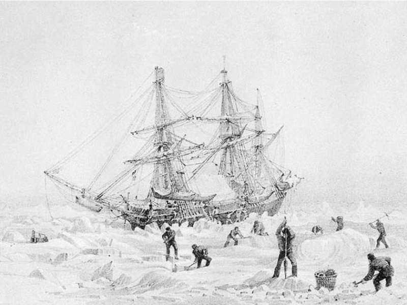"""La ilustración muestra el HMS """"Terror"""" atrapado en el hielo"""