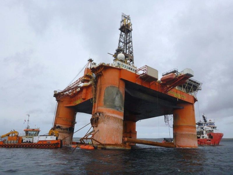 The Transocean Winner anchored in Broad Bay, Isle of Lewis. Photo credit: MCA