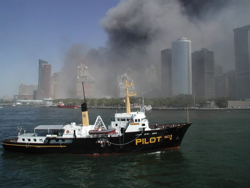 The pilot boat New York underway off Lower Manhattan on 9/11