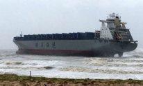 Cargo Ship Goes Aground as Typhoon Meranti Hits China