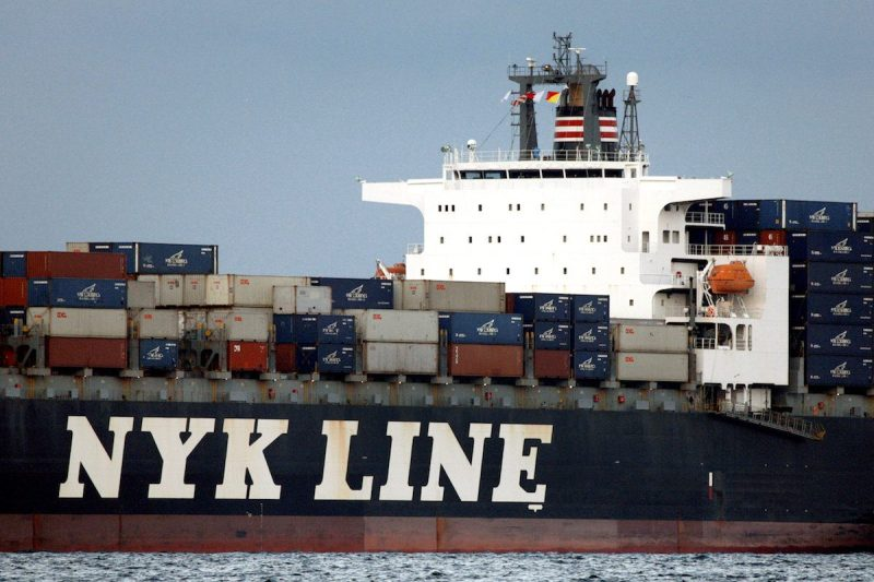 The NYK Antares container ship of Japanese shipping company Nippon Yusen (NYK Line) sails across Tokyo Bay in Tokyo August 12, 2009. REUTERS/Stringer/File Photo