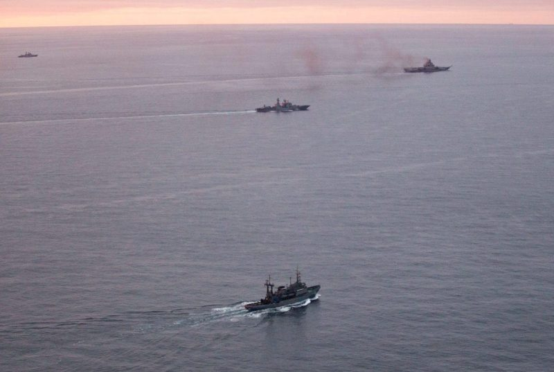 A photo taken from a Norwegian surveillance aircraft shows a group of Russian navy ships in international waters off the coast of Northern Norway on October 17, 2016. 333 Squadron, Norwegian Royal Airforce/NTB Scanpix/Handout via Reuters ATTENTION EDITORS - THIS IMAGE WAS PROVIDED BY A THIRD PARTY. FOR EDITORIAL USE ONLY. NORWAY OUT.