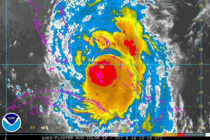 NOAA IR Satellite Image Hurricane Matthew