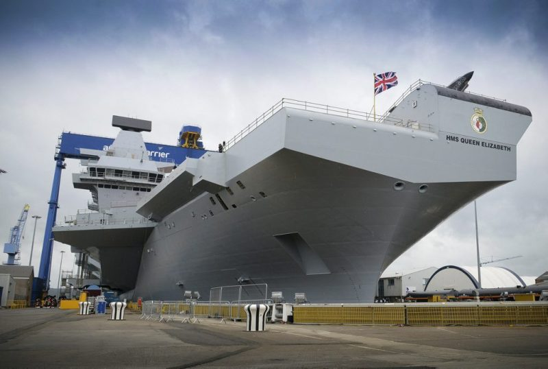 HMS Queen Elizabeth following her naming ceremony conducted at Rosyth Dockyard. Photo: UK Royal Navy