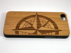 Nautical Compass Rose Wood iPhone Case
