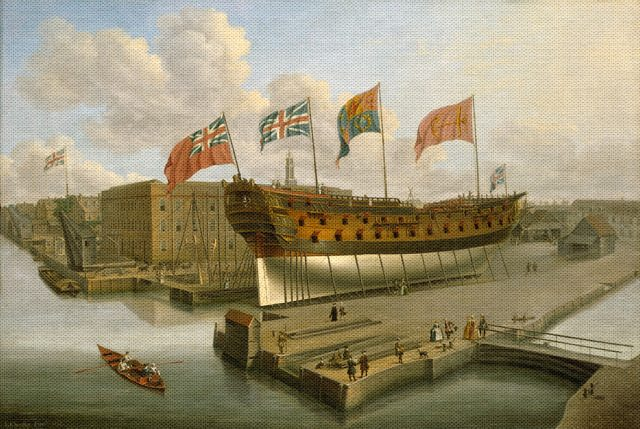 Buckingham on the stocks at Deptford, John Cleveley the Elder, 1752, National Maritime Museum