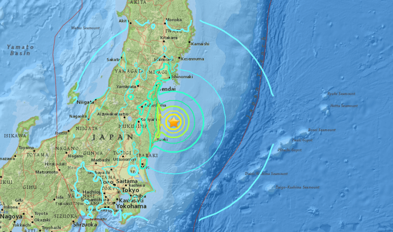 USGS map showing M6.9 earthquake approximately 37km ESE of Namie, Japan.
