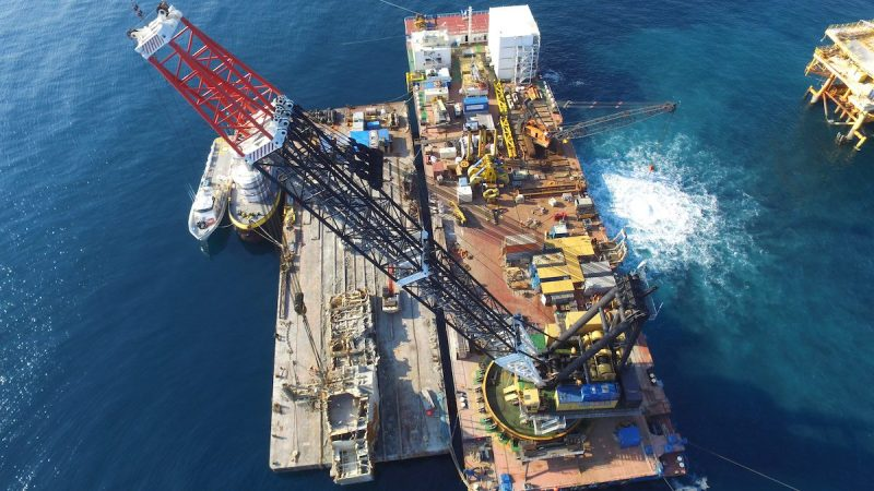 BAY OF CAMPECHE, Mexico (Nov. 15, 2016)- Ardent completed removing the Troll Solution jack-up in November, 2016. This was the largest wreck removal operation in 2016. Ardent deployed assets from several countries, including the crane barge Conquest MB-1, and a 1,000-ton hydraulic wreck grab from the Netherlands. Further support vessels were deployed from the U.S. and Mexico.